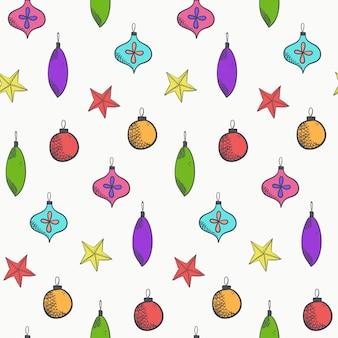 Bright cute vector christmas balls pattern