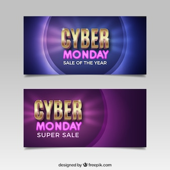Bright cyber monday banners