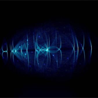 黒の背景に鮮やかな濃い青色の波線