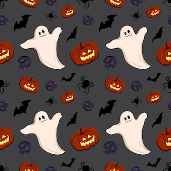 Яркий темный фон с тыквами, призраками, черепами, летучими мышами и пауками