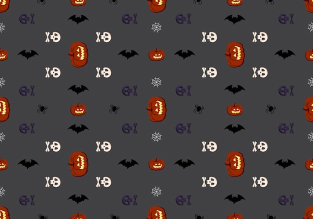 Bright dark seamless pattern with pumpkins skulls bats and spiders festive autumn decoration for hal...