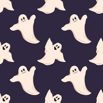 Bright dark seamless pattern with white ghost with eyes