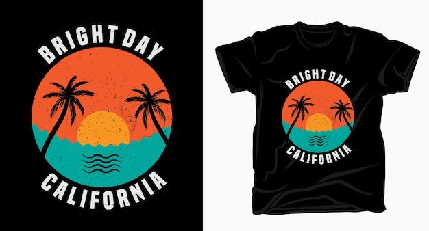Tシャツのデザインのための明るい日カリフォルニアのタイポグラフィ