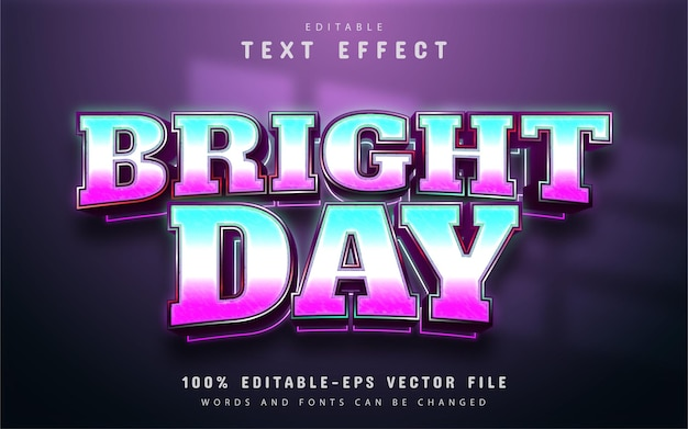 Bright day text effect with gradient