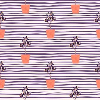 Яркий декор бесшовные модели с комнатными растениями. ботанический орнамент interiot с оранжевыми горшками на фиолетовом полосатом фоне