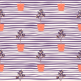 Bright decor seamless pattern with houseplants. interiot botanic ornament with orange pots on purple stripped background