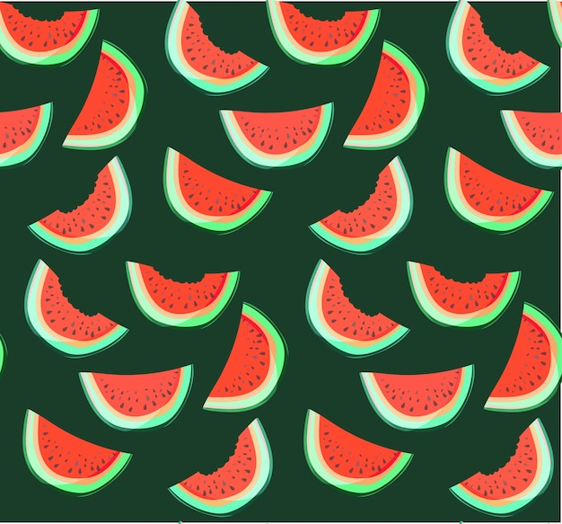 Bright delicious yummy slices of watermelon pattern paint like a child on dark background