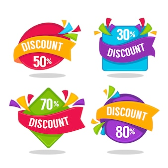 Bright discount tags, banners and stickers