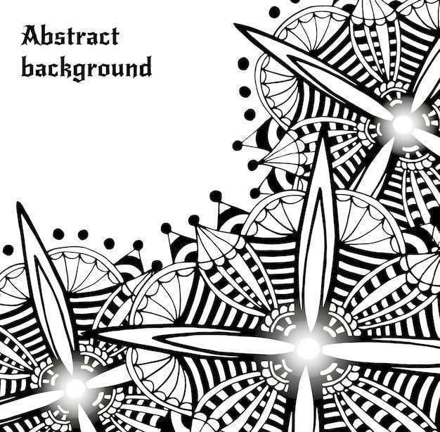 明るい落書きの抽象的なベクトルの背景。装飾的な未来の花のフレーム。カードやその他の装飾要素用のテンプレート枠のデザイン。