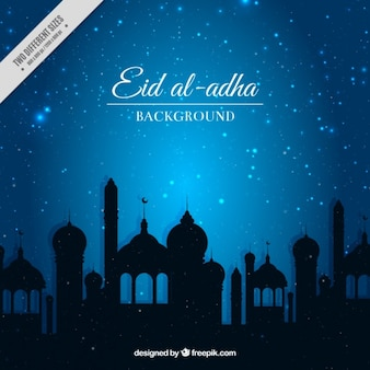 Bright eid al adha background in blue color