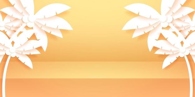 ディスプレイと夏の製品の背景のためにモックアップの横にココナッツの木がある明るい空のスタジオルーム