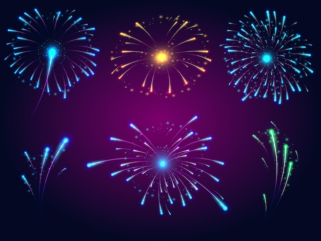 Bright explosions of fireworks of different colors