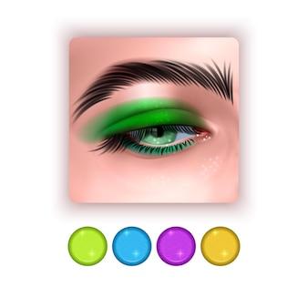 Bright eye shadow icon in realistic style realistic eyes with bright eye shadows