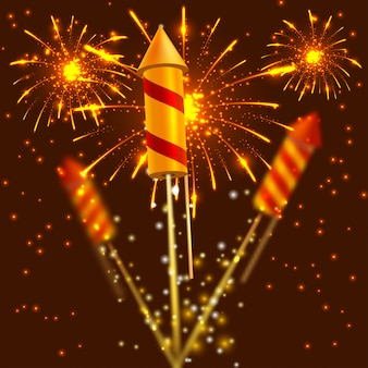Bright festival crackers on fireworks background. vector illustration