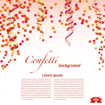 Bright festive background template with confetti and streamers. elements for your design. vector illustration