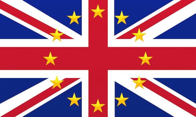 Яркий флаг соединенного королевства великобритании и северной ирландии с золотыми звездами европейского союза.