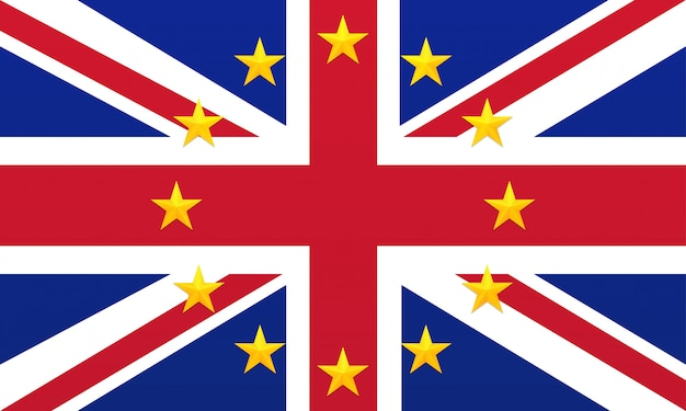 Bright flag of united kingdom of great britain and northern ireland with european union golden stars.