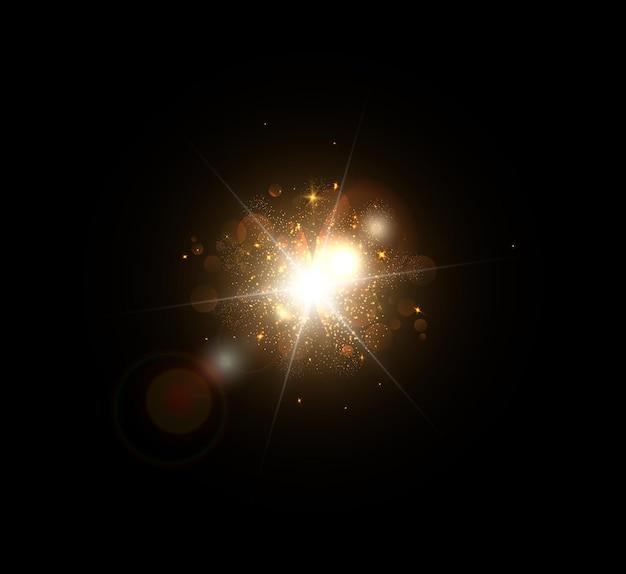 렌즈 플레어 및 광선으로 밝은 섬광