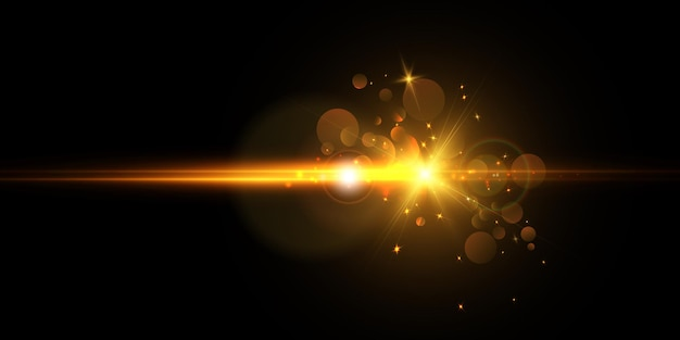 Яркая вспышка света с линзовыми бликами и лучами