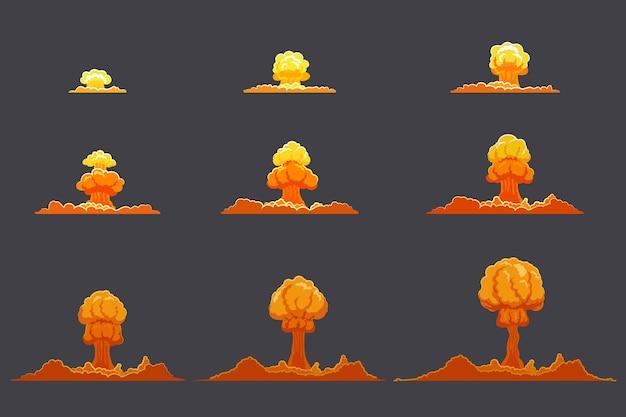 밝은 편평한 폭발 애니메이션 세트