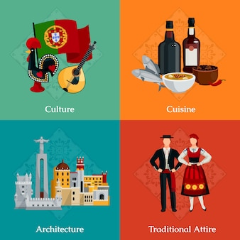 Bright flat icons set with traditional portugal attire cuisine