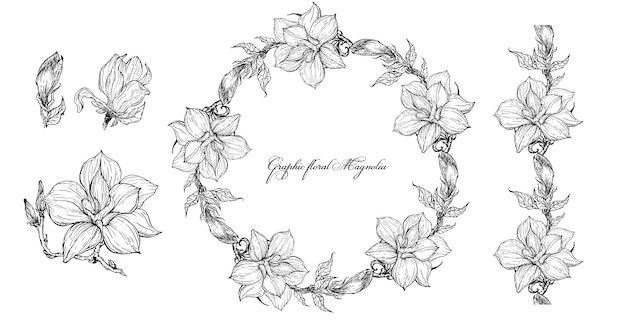 Bright floral magnolia elements for design