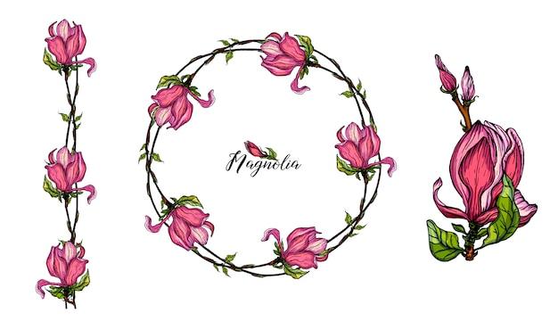 Яркие цветочные элементы магнолии для дизайна