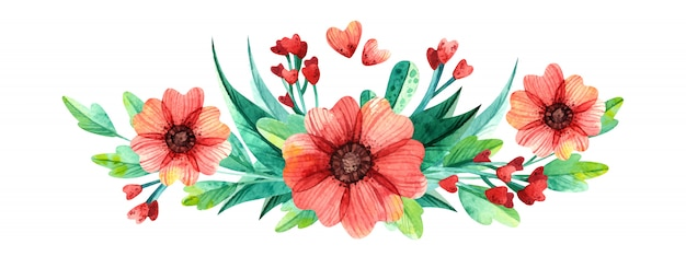 Bright flower arrangement. spring bouquet, watercolor illustration.