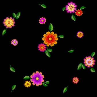 Bright flower embroidery colorful seamless pattern, fashion decoration