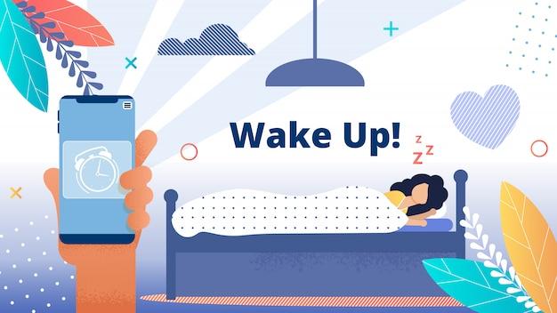 Bright flyer inscription wake up! alarm clock.