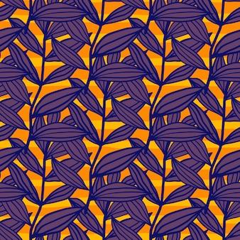 明るい葉の抽象的なアウトラインシルエットのシームレスパターン。オレンジ色の背景に紫の植物の枝。