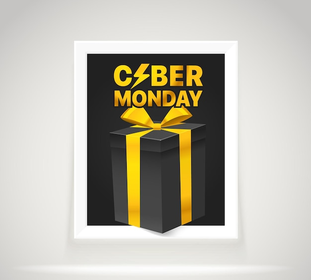 Bright frame on the wall. the cyber monday vector label