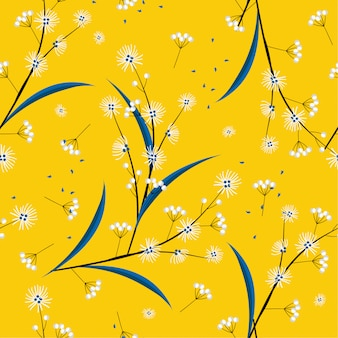 Bright and fresh seamless pattern in vector modern  minimal line and geometric flowers blowing in the wind design for fashion, fabric, web, wallpaper, and all prints
