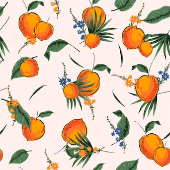 Bright and fresh tropical seamless pattern with summer orange illustrator in vector design for fashion, fabric, web, wallpaper and all prints