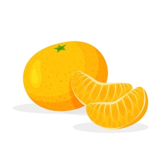 Яркие свежие целые и кусочек мандарина, изолированные на белом