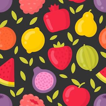 Бесшовный узор из ярких фруктов на темном фоне. лучше всего подходит для текстиля, фона, оберточной бумаги
