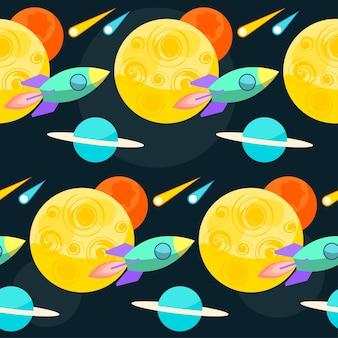 디자인에 사용하기 위해 열린 공간에 행성과 로켓이 있는 밝고 재미있는 만화 우주 원활한 패턴 배경