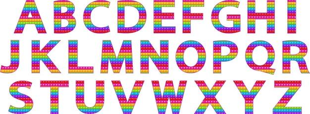 Bright funny pop it alphabet pop it popit is a childrens sensory toy of rainbow color