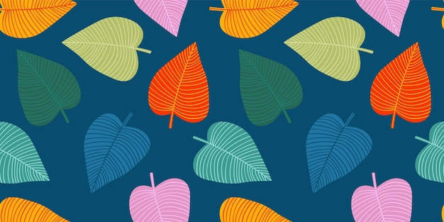 Bright funny seamless pattern with abstract leaves