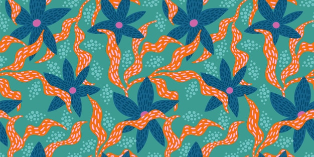 Bright funny seamless pattern with abstract leaves Premium Vector