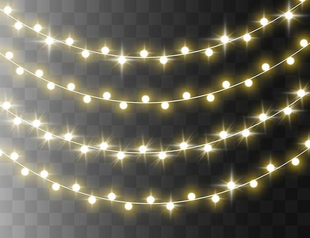 Bright garland string, illuminated lightbulbs.