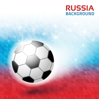 Bright geometric background. russia 2018 flag collors . soccer ball icon.