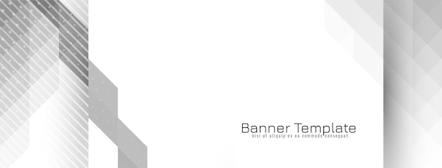 밝은 기하학적 회색과 흰색 유행 배너 디자인 벡터