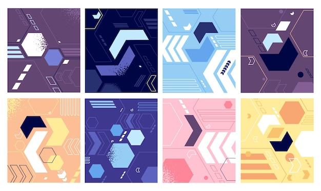 밝은 기하학적 모양 디자인. 펑키 추상 패턴, 현대 최소한의 기하학적 배경. 복고풍 그래픽 표지 또는 배너, 비즈니스 패션 포스터 벡터 세트. 밝은 기하학적 패턴 텍스처