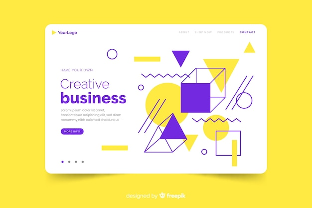Bright geometric shapes landing page