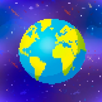 Bright glossy earth planet in pixel art style colorful globe on space background