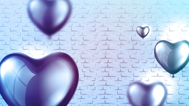 Bright glossy heart balloon poster template
