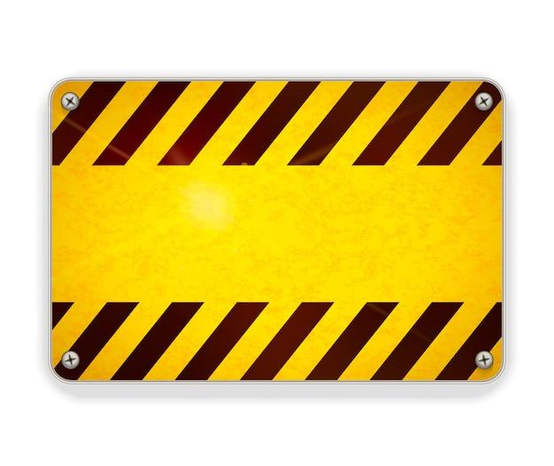 明るい光沢のある金属板、白の警告サインテンプレート