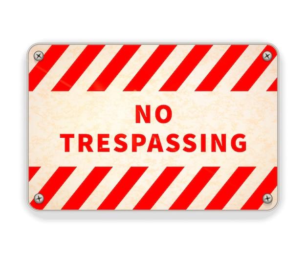 밝은 광택 빨간색과 흰색 금속판, 흰색 침입 경고 표시
