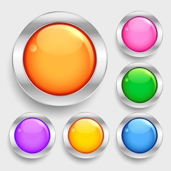 Bright glossy shiny circles round buttons set